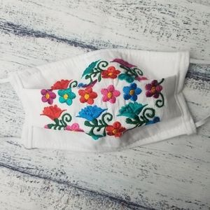 Other - White Embroidered Reusable Face Mask